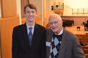 William with Professor Harold Protsman who joined ODU as an adjunct professor of piano and music history in 1957, and taught full time from 1970 until his retirement in 1995. A professor emeritus of music, he continues to teach piano on an adjunct basis. In recognition of his professionalism and service, the department's annual classical period piano competition, which Protsman directed for 18 years, was named in his honor in 2007.