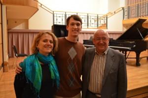 William with his teacher, Anna Kijanowska, and John O'Conor.