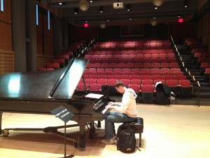William practicing the day before the concert in Dickinson's state-of-the-art Rubendall Recital Hall in the Weiss Center for the Performing Arts.