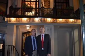 My Dad and me in front of the Soldiers, Sailors, Marines, Coast Guard and Airmen's Club in NYC, where we stayed.