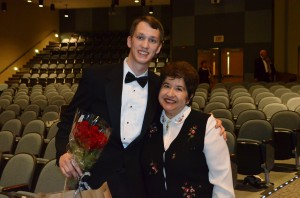 William with a former teacher, Teresa Compos-Falk of Yortown, Virginia.