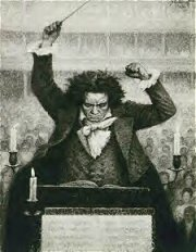 Beethoven in the 1820's. Lithograph by Michel Katzaroff, ca. 1933.
