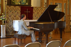 Warming up before the concert on this beautiful Steinway built in the 1890s!