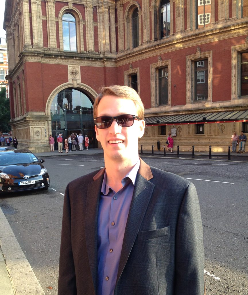 William at the Royal Albert Hall in London where he attended a concert during the 2016 BBC Proms or Henry Wood Promenade Concerts, an eight-week summer season of daily orchestral classical music concerts and other events held annually.