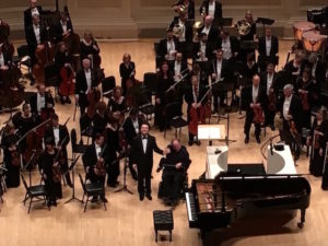 Pianist Evgeny Kissin and Maestro James Levine after a rousing performance.